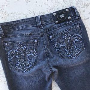 MISS ME Fleur de Lis Sparkle Black Wash Jeans 29